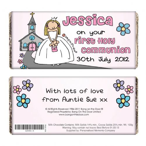 Personalised Bang On The Door First Holy Communion Girls Chocolate Bar